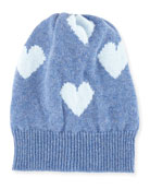 Cashmere Heart Beanie Hat, Blue/Light Blue