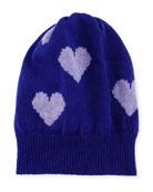 Cashmere Heart Beanie Hat, Purple/Lilac