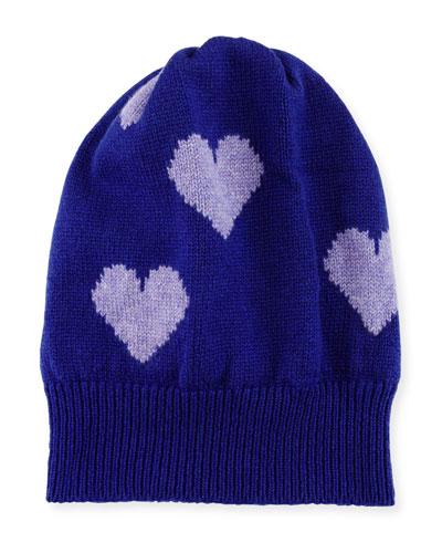 ROSIE SUGDEN CASHMERE HEART BEANIE HAT, PURPLE/LILAC