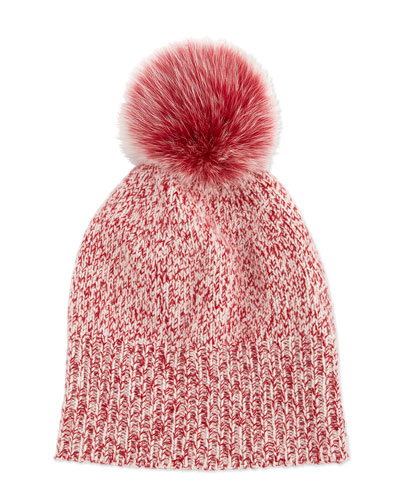 Marled Cashmere Pompom Beanie Hat, Red