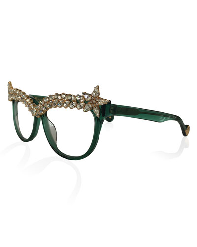 Decadent Ones Cat-Eye Optical Frames, Jade