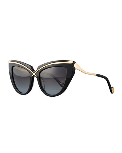 Lusciousness Cat-Eye Sunglasses, Gold/Black