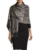Paisley Jacquard Weave Silk Shawl, Black/White