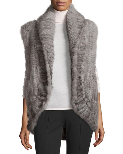 Knit Mink Open-Front Vest, Gray