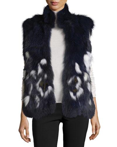 Open-Front Fox Fur Vest, Navy