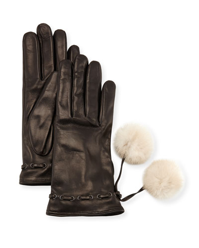 Leather Gloves w/ Fur Pompoms, Black/White