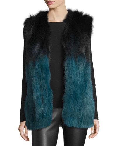 Francine Ombre Fur Vest, Black/Blue