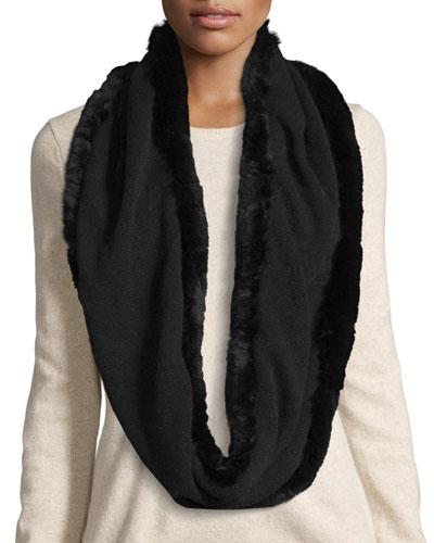 Fur-Trim Cashmere & Wool Infinity Scarf, Black