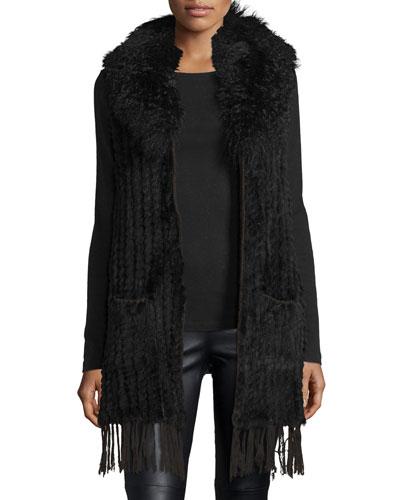 Rabbit & Lamb Fur Fringe Vest, Black
