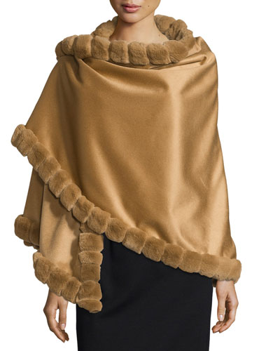 Asymmetric Cashmere Wrap w/ Rabbit Fur, Camel
