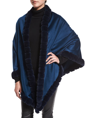 Asymmetric Cashmere Wrap w/ Rabbit Fur, Dark Blue