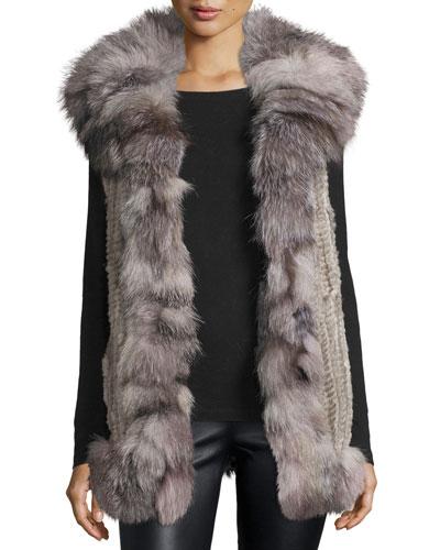 Rabbit & Fox Fur Vest, Gray