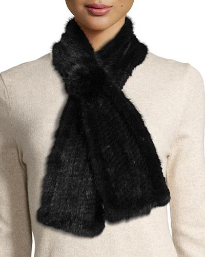 Mink Fur Pull-Thru Scarf w/ Rosette, Black