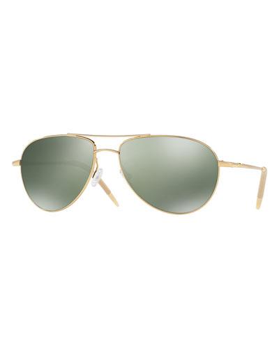 Benedict Mirrored Aviator Sunglasses, Gold/Green