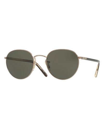 Hassett Monochromatic Round Sunglasses, Gold