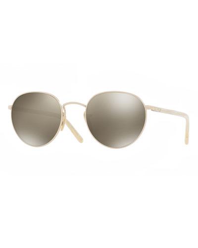 Hassett Mirrored Round Sunglasses, Gold/Gray