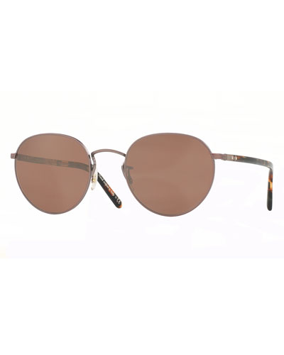 Hassett Mirrored Round Sunglasses, Rose Gold