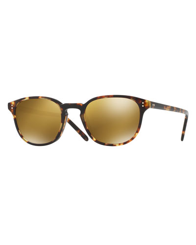 Fairmont Mirrored Square Sunglasses, Tortoise