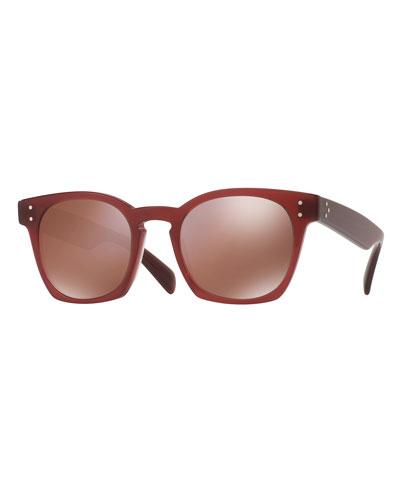 Byredo Square Mirrored Sunglasses, Red