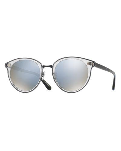 Spelman Square Floating-Lens Sunglasses, Blue