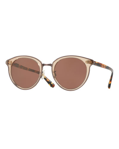 Spelman Square Floating-Lens Sunglasses, Pink/Brown