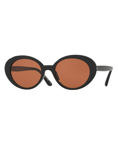 Parquet Monochromatic Oval Sunglasses, Black/Persimmon