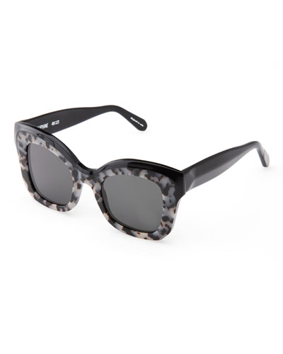 Dauphine Flat-Lens Sunglasses, Black/Gray