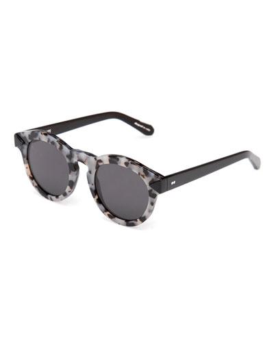 Toulouse Flat-Lens Sunglasses, Black/Gray
