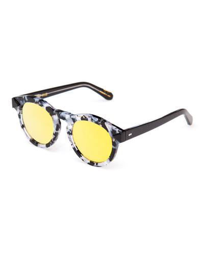 Toulouse Mirrored Flat-Lens Sunglasses, Black/Gray