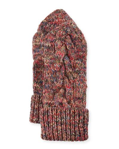 Braided-Trim Cashmere Mittens, Multicolor