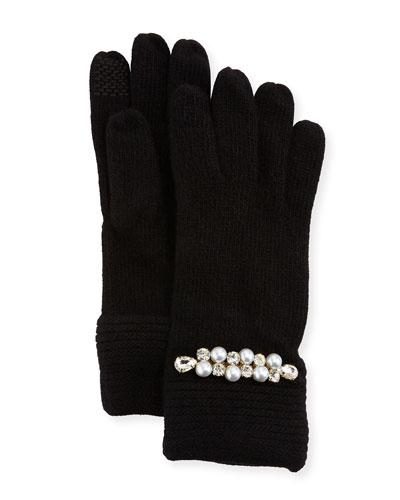 Embellished Cashmere Gloves, Black