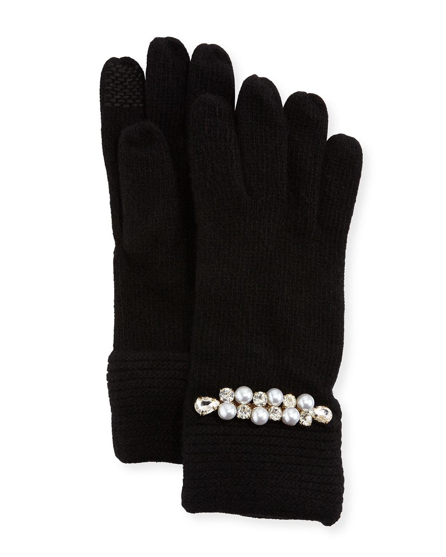 Embellished Cashmere Gloves, Black
