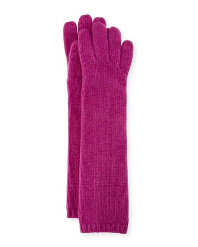 Long Cashmere Tech Gloves, Berry