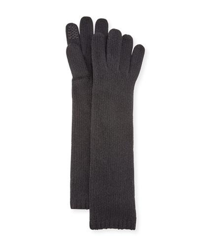 Long Cashmere Smart Gloves, Black