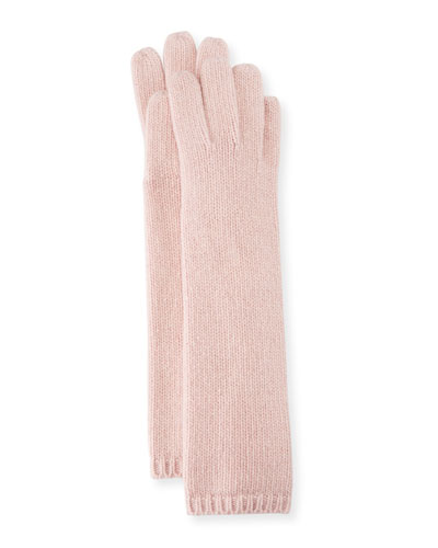 Long Cashmere Tech Gloves, Light Pink