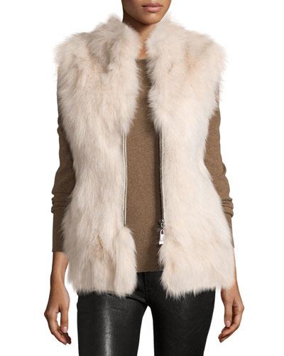 Zip-Front Fox Fur Vest, Cream
