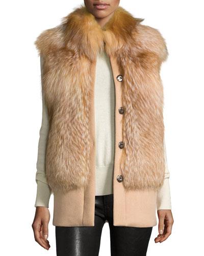 Cashmere Fur-Trim Vest, Gold/Camel