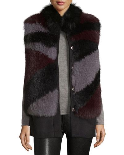 Cashmere Fur-Trim Vest, Gray/Purple