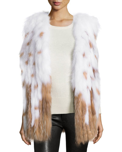 Long Full-Skin Fox Fur Vest, White