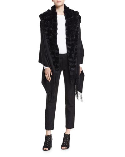 Cashmere Wrap w/ Fur Pompoms, Black