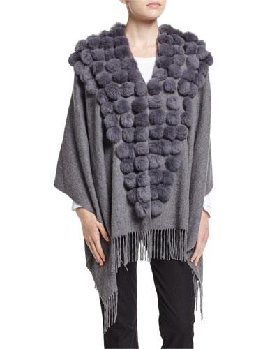 Cashmere Wrap w/ Fur Pompoms, Gray