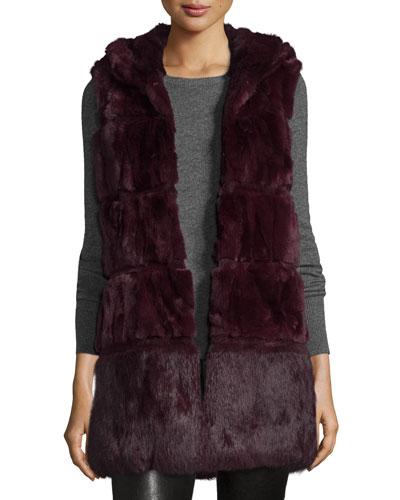 Banded Rabbit Fur Vest, Wine