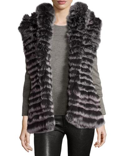 Reversible Microfiber & Fox Fur Vest, Black