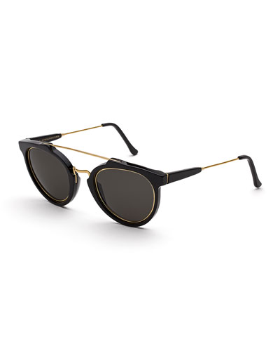 Giaguaro Impero Trimmed Double-Bridge Sunglasses, Black