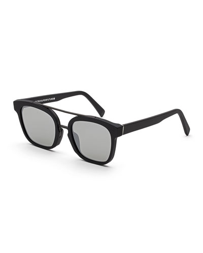 Akin Square Brow-Bar Sunglasses, Black Matte