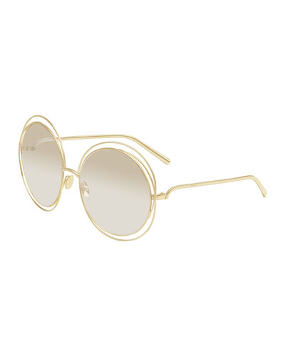 Carlina Round Mirrored Sunglasses, Golden/Beige