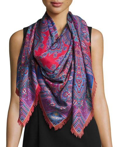 Lasenby Cashmere & Silk Square Scarf, Red