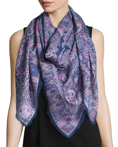 Lasenby Cashmere & Silk Square Scarf, Navy