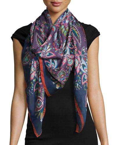Epiphany Floral Silk Satin Scarf, Gray/Multicolor