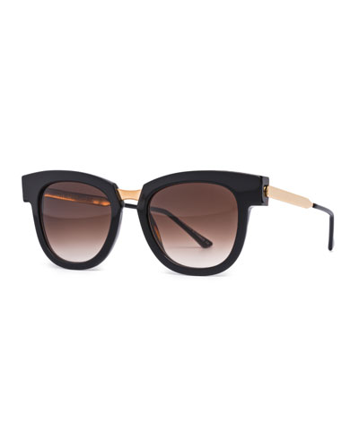 Mondanity Notched Butterfly Sunglasses, Black